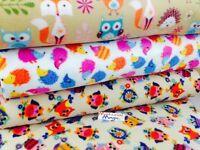antipill polar fleece fabric designer,150cm wide,owl, woodland, hedgehog