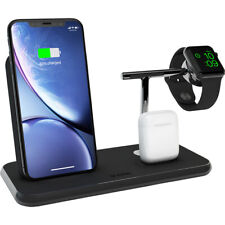 Zens Aluminium Wireless Qi Charger 20W, Stand for Apple Watch+PODS-BLACK