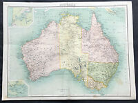 1890 Bartholomew Large Original Antique Map of Australia - Highly Detailed