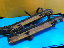 Old Vtg Collectible Antique G. Ruiter Primative Wood Ice Skates Leather Straps