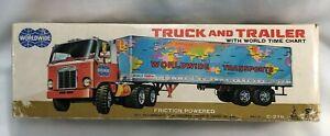 Taiyo WorldWide Transports Truck & Trailer World Map Tin Litho Friction Japan