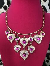 Betsey Johnson Heart Of Glass Fuchsia Pink Cabochon Crystal AB Gold Necklace $75