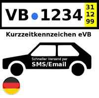Kurzzeitkennzeichen Versicherung eVB PKW 5 Tage DE @/SMS