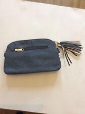 BMC Womens Textured Faux Leather Multi Compartment Tassel Zipper Clutch Handbag