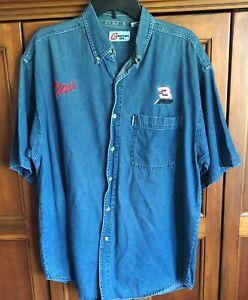 Dale Earnhardt #3 Competitive View VTG Button Up Short Sleeve Denim Shirt SZ XL