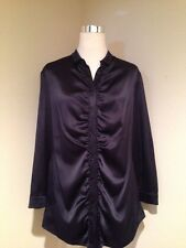 BURBERRY LONDON Navy Silk Stretch Satin Button-Front Long Sleeve Blouse 14 New