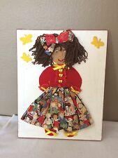 Vintage Hand Made Fabric Yarn And Felt Canvas Art Little Girl Rare to Find!! 20""