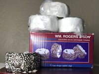 Wm. Rogers & Son Silver Plated Antique Finish Grape Design Napkin Rings 4 NIB