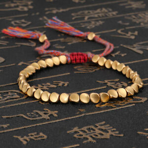 Tibetan Buddhist Braided Cotton Copper Beads Lucky Handmade Rope Bangle Bracelet