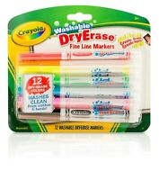 Crayola 98-5912 Washable Dry-Erase Fine Line Markers, 12 Classic Colors