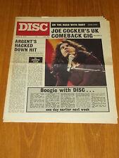 DISC AND MUSIC ECHO APRIL 8 1972 JOE COCKER STRAWBS JONATHAN KELLY ARGENT