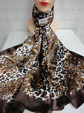 LIGHT WEIGHT SHEER LEOPARD DESIGN ALL SEASON SCARF WRAP COLOR BROWN