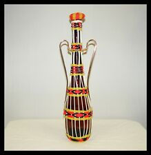 VINTAGE SPAIN SPANISH PINK YELLOW WOVEN WRAPPED AMBER GENIE BOTTLE WINE DECANTER