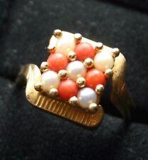 Vintage 14K Coral & Pearl Square Grid Ring