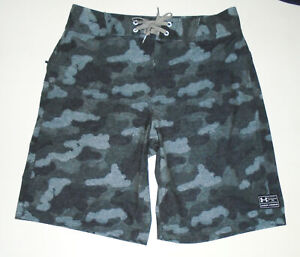 """UNDER ARMOUR Camouflage Board Shorts 10"""" PASSAGE in GRAY CAMO Swim Suit NEW : 32"""
