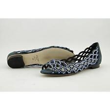 Lola Cruz 015Z30BK Women US 8 Blue Peep Toe Flats Pre Owned  1847