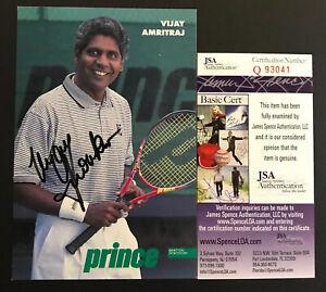 Vijay Amritraj Signed Prince Promotional Postcard James Bond Actor Autograph JSA