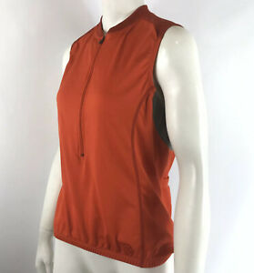NOVARA Womens Cycling Bike Jersey 1/2 Zip Sleeveless Red Orange size M
