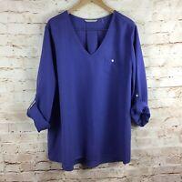 Soft Surroundings Womens Purple Tencil Tunic Top Plus Size 2X NEW