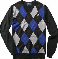 Fred Perry Argyle V-Neck Pullover Sweater Men's Sweatshirt K7257-236