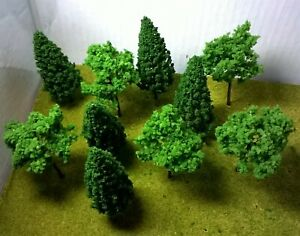 Model trees, mixed green 9cm High, pack of 10 - Railway Architecture Warhammer