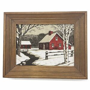 "9"" x 11"" Vtg Kay Dee Framed 100% Pure Linen Hand Print Red Farmhouse Winter Snow"