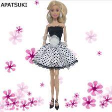 White Polka Dress For Barbie Doll Flower Off-shoulder Dress Clothes For Barbie