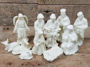 Porcelain Cream White Christmas Nativity Set 11 Good Shape!
