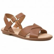 Clarks Willow Gild Women's Tan Leather Flat Sandals Size UK 5 EU 38