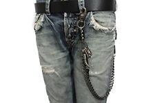 Men Pewter Black Metal Long Wallet Chain KeyChain Biker Horn Links Strong Jeans