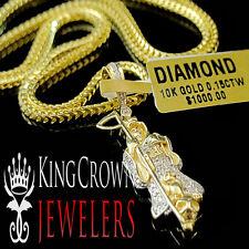 "Mens Real 10K Yellow Gold Genuine Diamond Grim Reaper Mini Charm Pendant 1.25"""