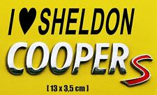 Aufkleber I LOVE SHELDON COOPER JDM Auto OEM Tuning 13 x 3,5 cm schwarz