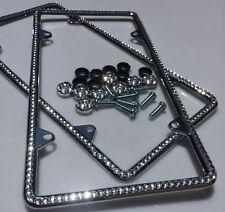 2 All Diamond Silver Bling Glitter Crystal RhineStone License Plate Frame Thin
