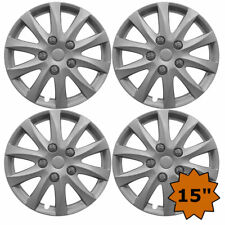 SILVER ALLOY SPORT LOOK SET 4 X 15 INCH WHEEL COVER TRIM HUB CAP 15""