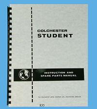 "Colchester 6"" Student & 12"" Dominion Lathes Instruction & Parts List Manual *835"
