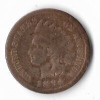 Rare Very Old Antique US 1884 Indian Head Penny USA Collection Coin Cent LOT:W14
