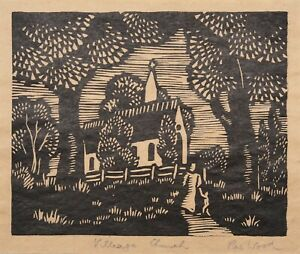 "REX WOOD AUSTRALIAN INK LINOCUT ""VILLAGE CHURCH"" C 1930"