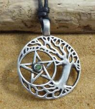 Pentagram Tree of Life Pewter Pendant adjustable Necklace Druid Pagan Wiccan