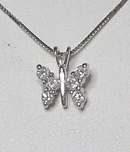 Real 18ct White Gold Exquisite Real 1/4 carat Diamond Butterfly Pendant & Chain