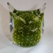 Vtg Mid Century Green Murano Glass Owl Figurine Paperweight Controlled Bubbles