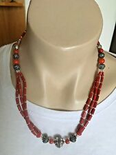 NL-169 Nepalese Handmade Tibetan Ethnic Coral and White Metal Necklace