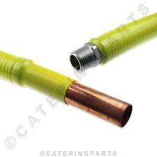 "CARAVAN GAS HOSE 22mm COPPER PIPE x 1/2"" BSP MALE FLEXIBLE 1.2M STAINLESS STEEL"
