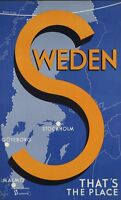 "Vintage Illustrated Travel Poster CANVAS PRINT Sweden Map 16""X12"""