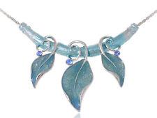 Light Blue Painted Enamel Vine Leaf Gypsy Blue Gems Custom Pendant Necklace Gift