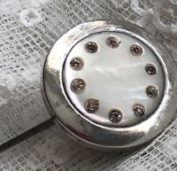 Antique Hat Pin Silver Hatpin Hinged Long 19th Century 1800s Mother of Pearl Old