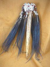 "(W-1d) vintage 15"" ceremonial Cassowary bird leg bone tribal dagger feathers"
