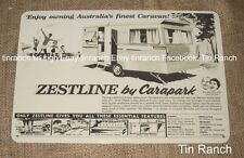 vintage caravan CARAPARK ZESTLINE TIN SIGN new old 60s advertising RETRO camping