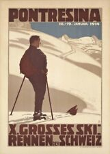 Vintage Ski Poster PONTRESINA X GROSSES SKI, Swiss, 1914, Travel Print
