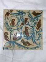 Vintage Bird Blue Brown V&A Tile Ironbridge Decorative Tile Works England