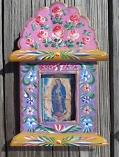 Virgin of Guadalupe Tin Frame Mexican Hand Painted Folk Art Nicho Religious